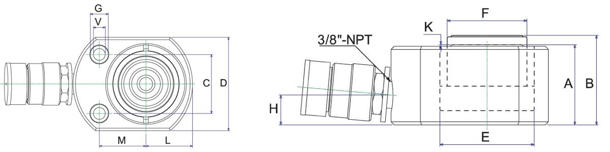 Bản vẽ kích thước của con đội lùn NSLS Series