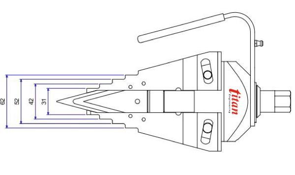 Kích thước khi lưỡi tách đi hết hành trình SM9T