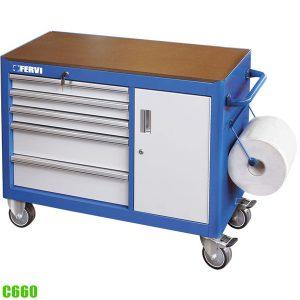 C660 tủ dụng cụ 6 ngăn kéo kết hợp với bàn nguội di động FERVI