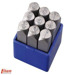 P012 bộ đục số chấm bi bao gồm 9 ký số độ cứng 58-50HRC