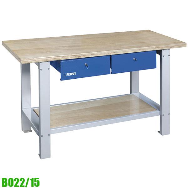 B022/15 Bàn nguội mặt gỗ 2 ngăn kéo khóa, 1500 x 640 x 865h mm