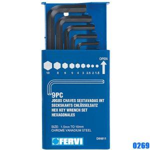 0269 Bộ lục giác 9 cây từ 1,5 - 10mm, hàng chính hãng Fervi Italia