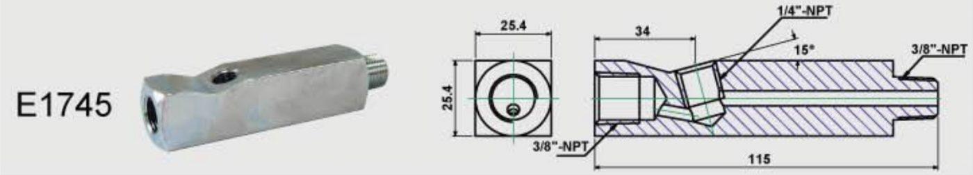 bản vẽ kích thước co nối chữ T cho đồng hồ áp suất thủy lực