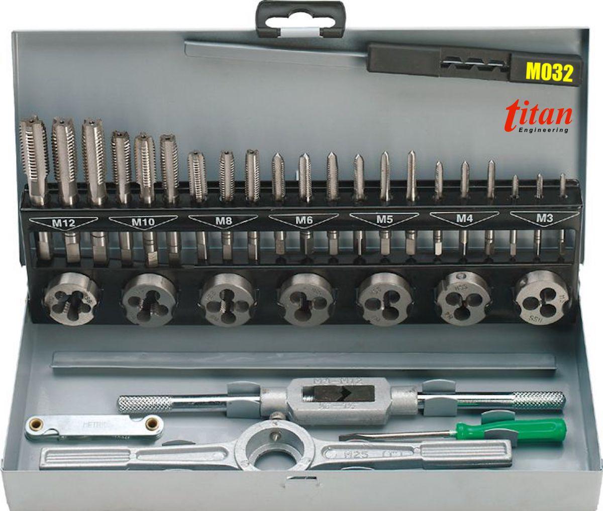 M032 bộ taro bàn ren 32 chi tiết từ M3 đến M12 - FERVI Italia