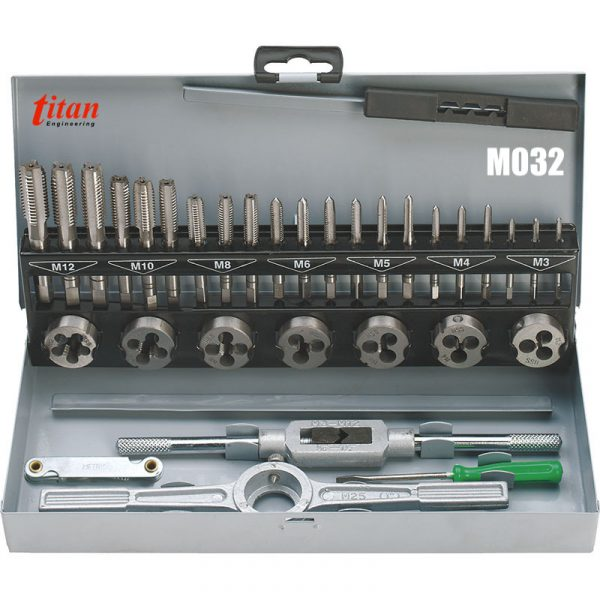 M032 bộ taro bàn ren trong ngoài 32 chi tiết từ M3 đến M12
