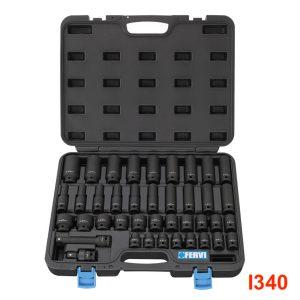 """I340 Bộ socket 40 món từ 9 đến 30mm, đầu vuông 1/2"""" Fervi - Italia"""