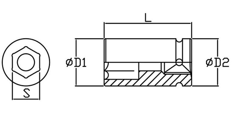 Bản vẽ kỹ thuật đầu tuýp đen 6 cạnh BI4E3Nx