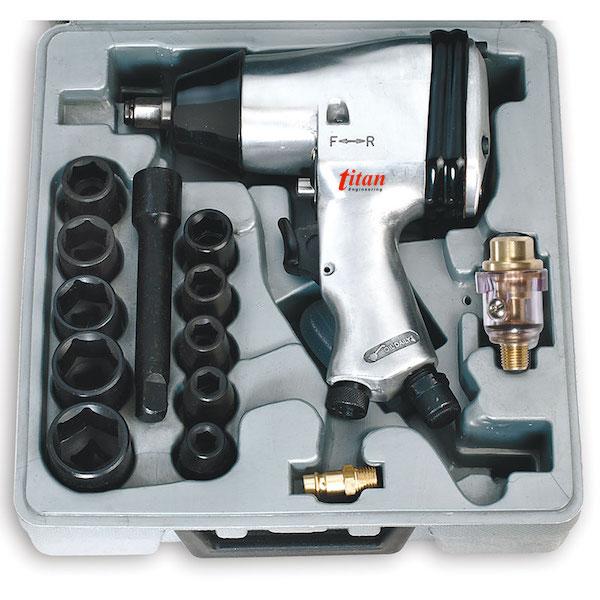 0044 bộ súng xiết ốc bằng khí nén 13 chi tiết, vuông 1/2 inch. FERVI - Italia