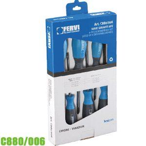 C880/006 Bộ tua vít 6 chi tiết, dẹp và 4 cạnh, 50 Cr-V