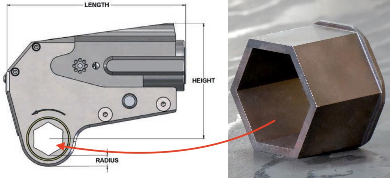 Ghép nối với reducer cho cờ lê thủy lực.