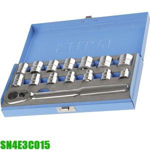 """SN4E3C015 Bộ đầu tuýp 15 món từ 8-24mm, đầu vuông 1/2"""""""