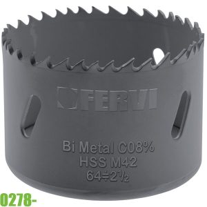 0278- Lưỡi khoét lỗ kim loại 14-152mm, HSS - Co 8% M42. FERVI Italia