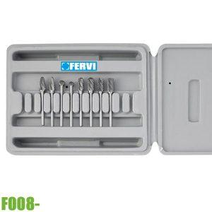 F008/3 Bộ mũi mài hợp kim 8 món, chuôi Ø3-6mm. FERVI Italia