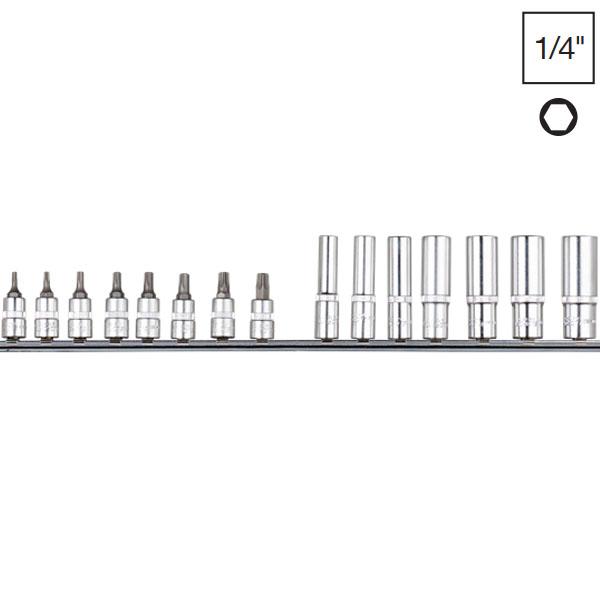 13-TKLS15 Bộ tuýp 15 chi tiết, đầu tuýp mũi vít sao TX 1/2 inch . ELOFORT