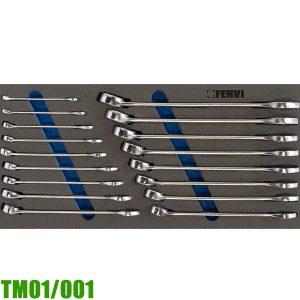 TM01/001 Bộ cờ lê vòng miệng 17 món 6-22mm cho tủ đồ nghề FERVI