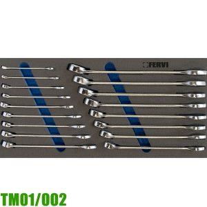 TM01/002 Bộ cờ lê vòng miệng 17 món 6-22mm cho tủ đồ nghề FERVI