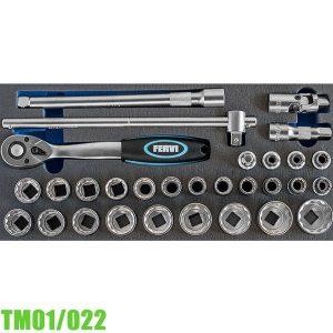 """TM01/022 Bộ tuýp 30 chi tiết 8-32mm, 1/2"""" cho tủ đồ nghề FERVI"""