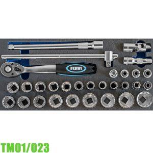 TM01/023 Bộ tuýp 12 cạnh 30 chi tiết 8-32mm cho tủ đồ nghề FERVI