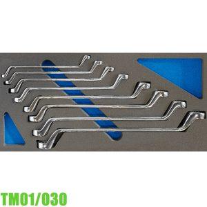 TM01/030 Bộ cờ lê 2 đầu vòng 8 cây 6-22mm cho tủ đồ nghề FERVI