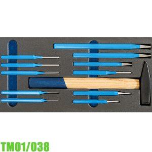 TM01/038 Bộ đục đột kèm búa 12 chi tiết cho tủ dụng cụ FERVI