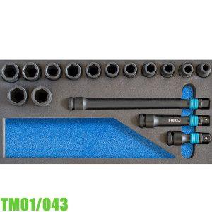 TM01/043 Bộ tuýp đen 16 chi tiết 6-24mm cho tủ đồ nghề FERVI