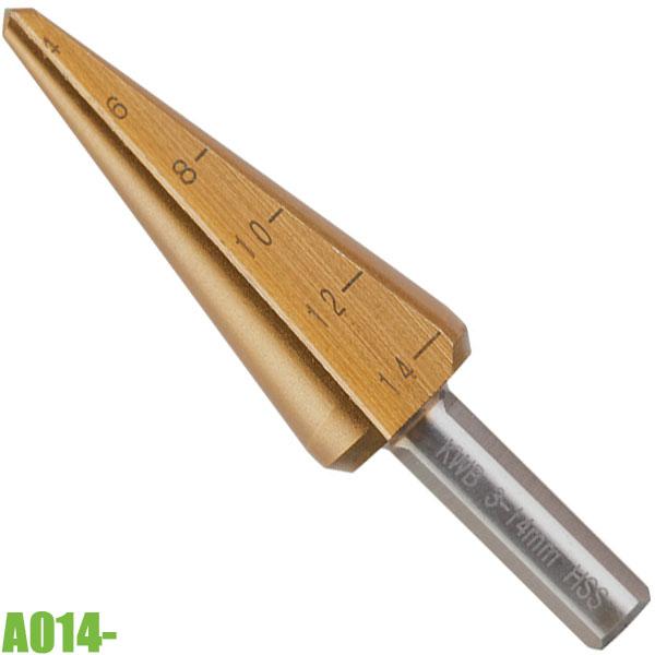 A014 Mũi khoan tháp ø3-22,5mm, HSS M2- TiN. FERVI ItaliaA014 Mũi khoan tháp ø3-22,5mm, HSS M2- TiN. FERVI Italia
