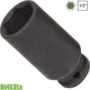 """BI4E3Lx Đầu tuýp đen 8-32mm, 6 cạnh, 1/2"""", loại dài FERVI Italia"""