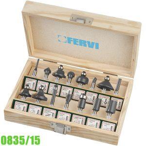 0835/15 Bộ mũi phay router 15 chi tiết, chuôi Ø6 mm FERVI Italia