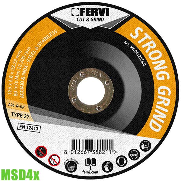 MSD4x Đĩa cắt Ø115-230mm. Specification A24RBF - Fervi Italia