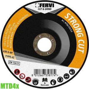 MTD4x Đĩa cắt thép và inox Ø115-230mm. Fervi Italia