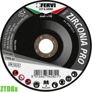 ZTD8x Đĩa cắt zirconia chuyên nghiệp 115-125mm FERVI Italia