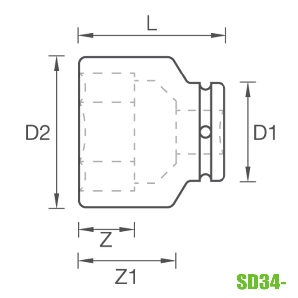 đầu tuýp đen 3/4 inch SD34