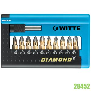 28452 Bộ mũi vít kim cương 11 chi tiết và đầu nối dài WITTE