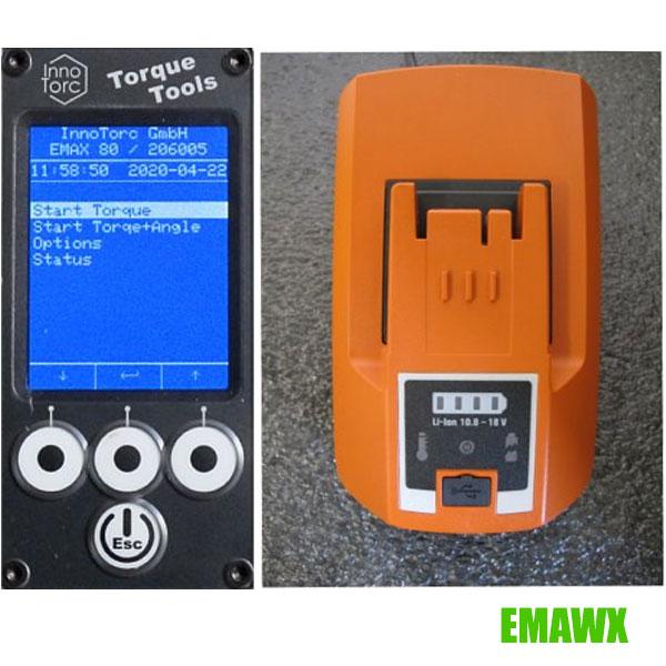 màn hình và pin sạc máy siết Emawx Innotorc