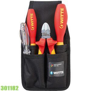 301182-Bộ tua vít và kìm 4 món kèm túi đeo WITTE Germany
