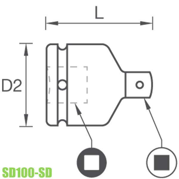 SD100-SD Đầu chuyển lỗ vuông Impact socket từ 1inch Blackiron